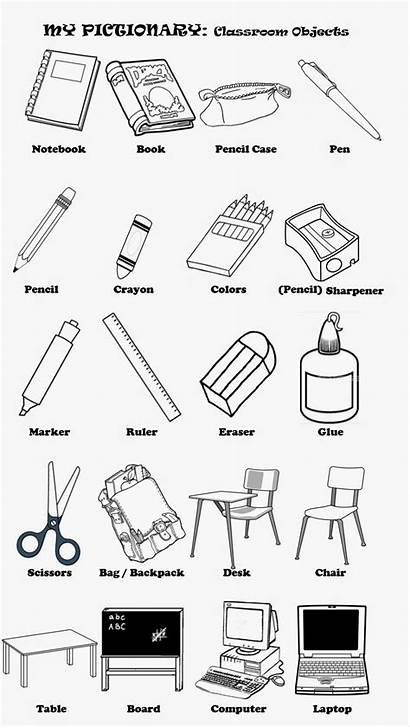 Classroom Objects Pages Coloring English Hard Teacher