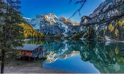 Fall Lake Mountains Water Forest Landscape Italy