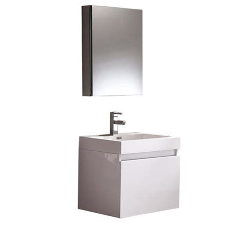 White Bathroom Vanities At Menards by Fresca Nano White Modern Bathroom Vanity W Medicine