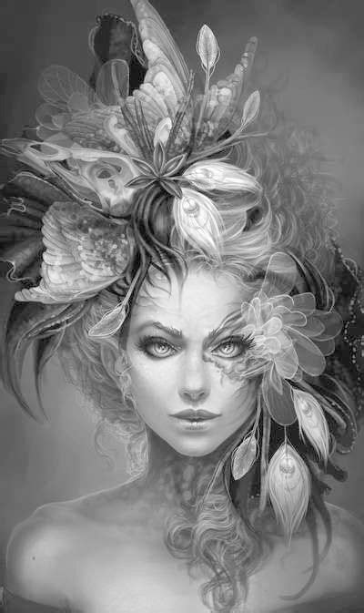 Greyscale   Grayscale coloring, Fairy coloring pages