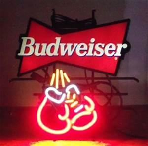 Budweiser Boxing Gloves Neon Beer Bar Sign Light