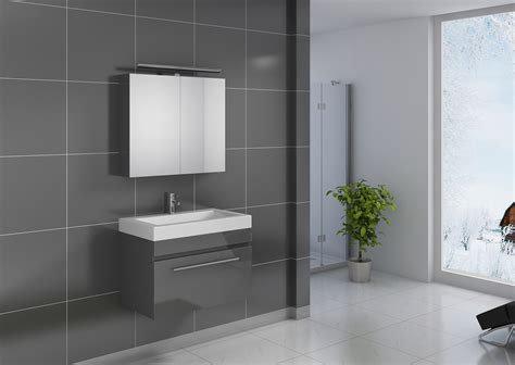 Sam® Badezimmer Set Lunik 2tlg Spiegelschrank Grau 80 Cm