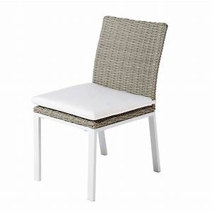 Chaise En Résine Tressée : chaise de jardin en resine tress e gris clair lodge maisons du monde ~ Dallasstarsshop.com Idées de Décoration