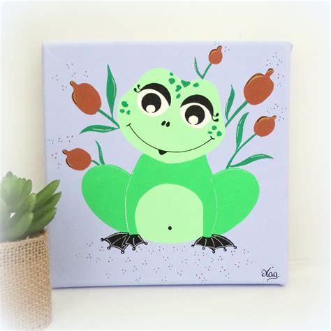 toile chambre bebe tableau grenouille verte décoration chambre enfant bébé