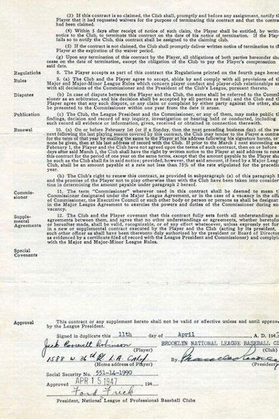 Jackie Robinson's first Major League Baseball contract up ...