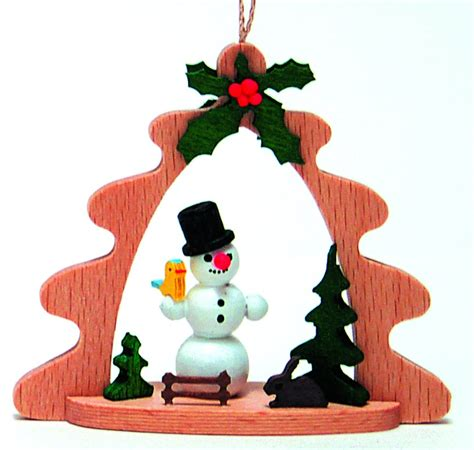 snowman german wood christmas tree ornament holiday