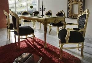 Baroque de salle a manger avec 1 table a rallonge et 6 for Meuble salle À manger avec chaise salon