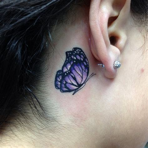 ear purple butterfly tattoo  gils tattooshuntcom