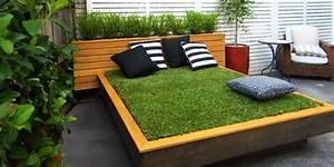 Bett Aus Paletten Und Gras Im Garten Anlegen FresHouse