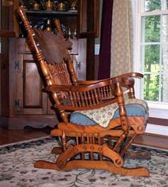 furniture detective glider rocker with 1888 patent is