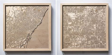 hand assembled  wooden maps offer exquisite minimal