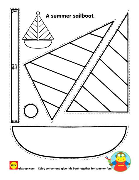 Boat Pictures For Kindergarten by Coloring Pages Printable Sailboat Shape Printable