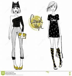 Cute Vector Fashion Girls. Sketch Girls. Hipster Girls ...