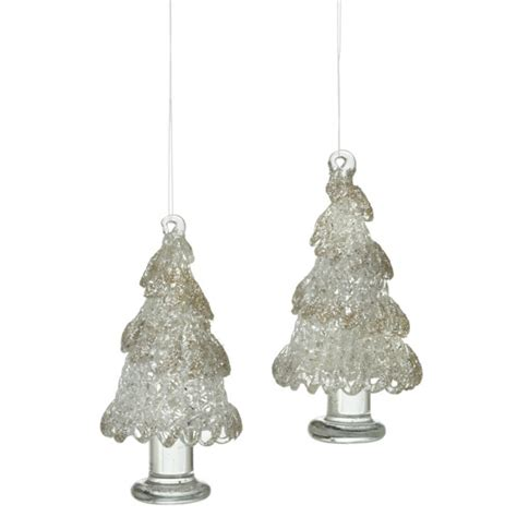 spun glass tree ornament christmas ornaments set of 2