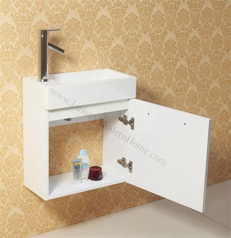vanity sink  small narrow short white modern bathroom