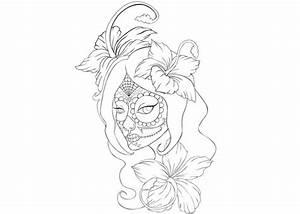Sugar skull girl coloring sheet for Dia de los Muertos ...