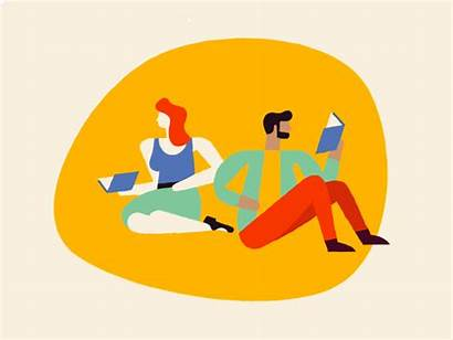 Reading Dribbble Animation Books Characters Working Rank