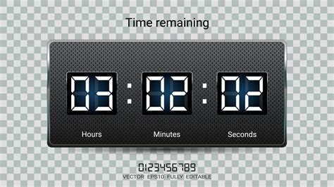 countdown timer remaining clock counter scoreboard hour