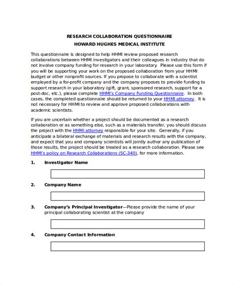 printable   research questionnaire template word