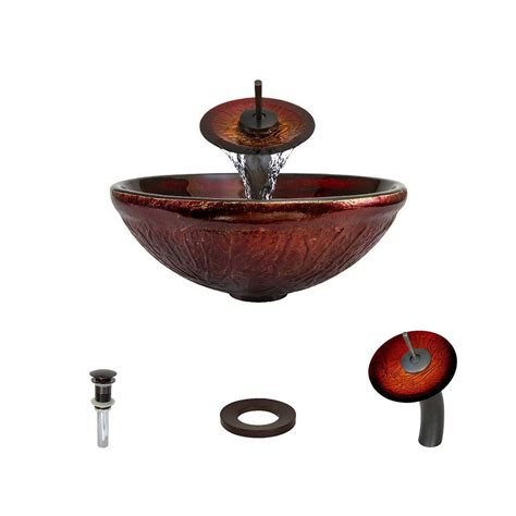 red glass vessel sink mr direct glass vessel sink in red lava with waterfall