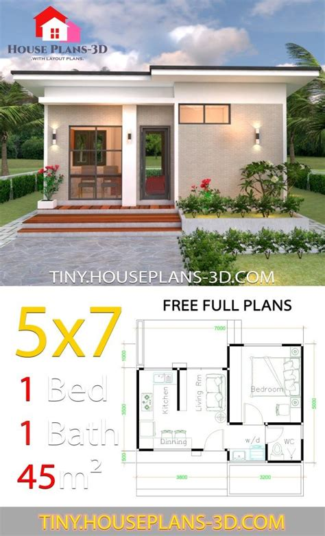 Small House Design Plans 5x7 with One Bedroom Shed Roof in