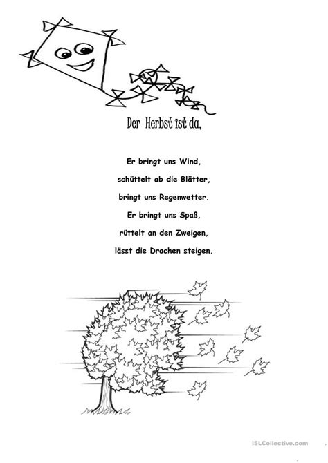 der herbst ist da gedicht deutsch daf arbeitsblatter