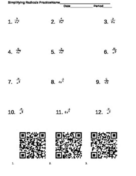 simplifying radicals and fractional exponents worksheet with qr coded key