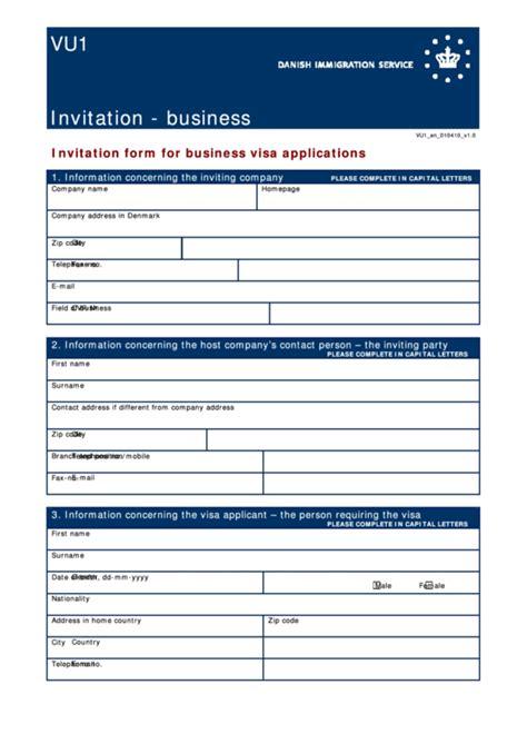 form vu invitation form  business visa applications