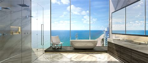 dining table legs sea view contemporary bathroom design with large glass