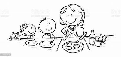 Cooking Drawing Mother Pancakes Doodle Waiting Mom