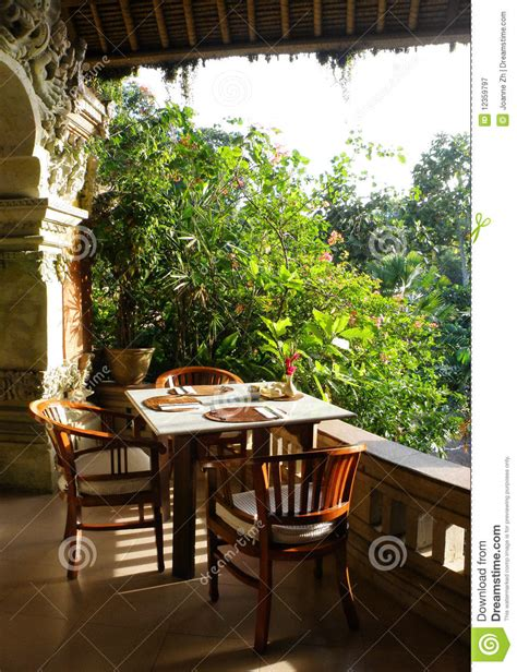tropical outdoor dining patio stock image image 12359797
