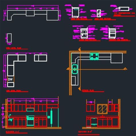 kitchen and cabinets section detail cad files dwg files plans and details