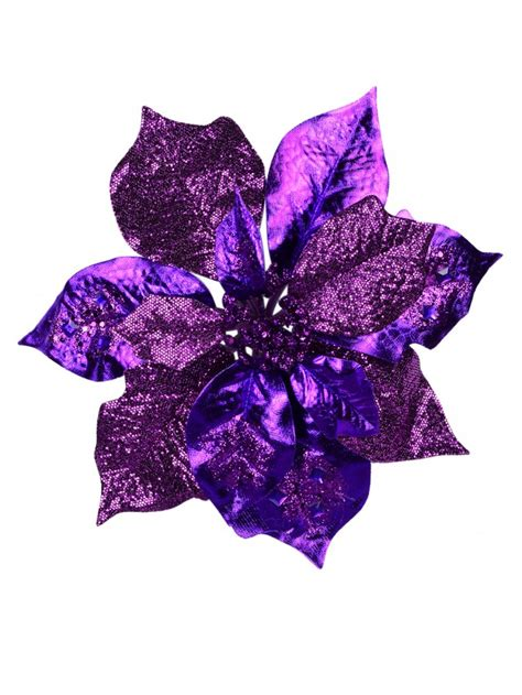 spectacular purple poinsettia pick cm christmas