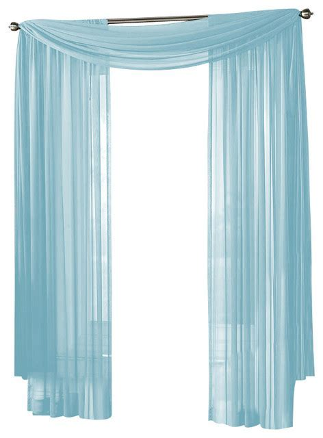HLC.ME Sheer Curtain Window, Light Blue, Scarf