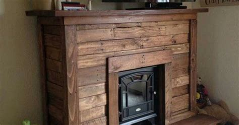 pallet fireplace palletwood work pinterest