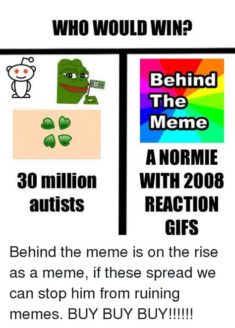 Behind The Meme - who would win behind the meme a normie with 2008 reaction gifs 30 million autists meme on sizzle
