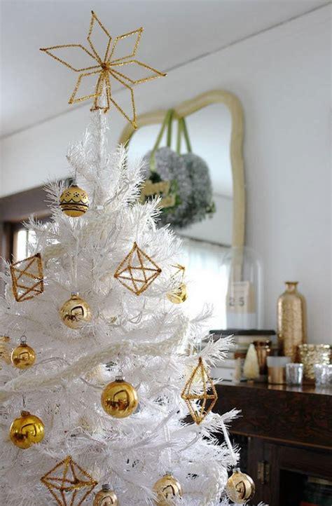 white christmas tree  gold himmeli ornaments