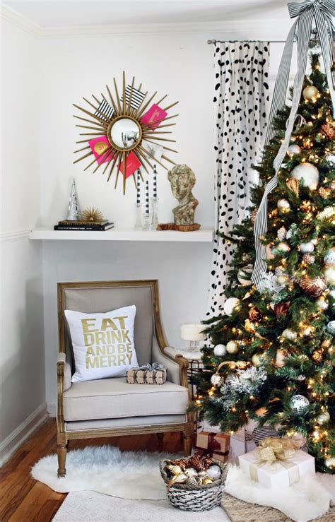 christmas decorating ideas black brown white living room