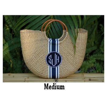 monogrammed  moon woven basket bag