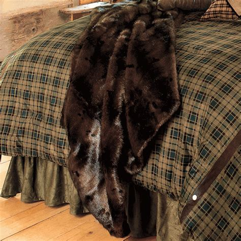 Rustic Bedding: Brown Bear Microfiber Faux Fur Throw Black Forest Decor