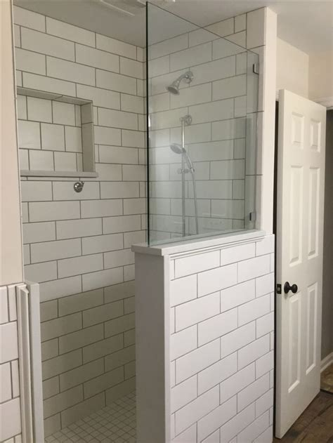 classic white  subway tiled shower extra large cutout