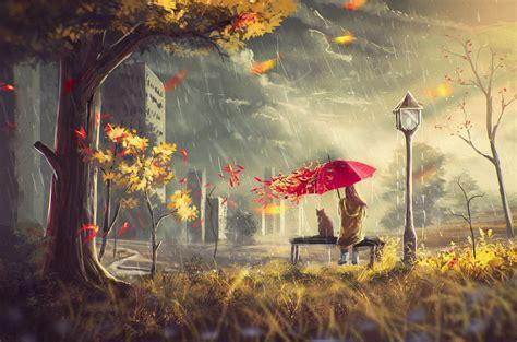autumn street girl wind leaves umbrella cat house tree