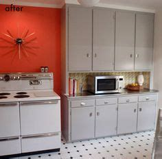 Ge Profile #kitchen With Red Walls, White #cabinets And