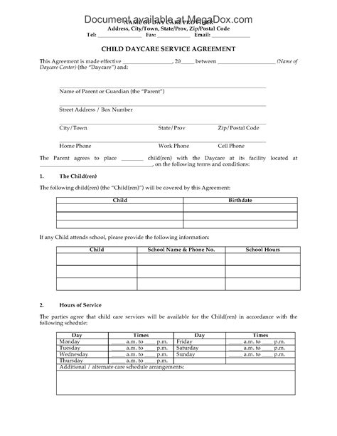 Download Child Care Contract Template For Free Tidyform