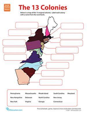 13 Colonies Worksheets For Kids Educationcom