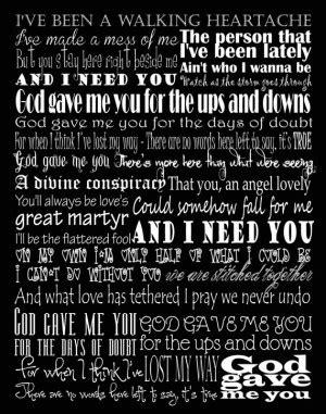 blake shelton god gave me you lyrics god gave me you quotes quotesgram