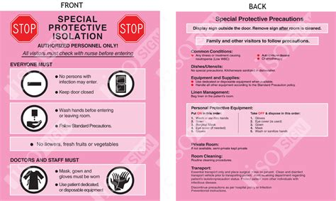 Isolation Precaution Signs 85 X 11 Iso Sign
