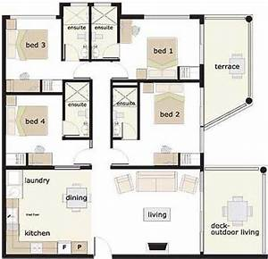 4 bedroom house house floor plans and floor plans on for Layout for 4 bedroom house