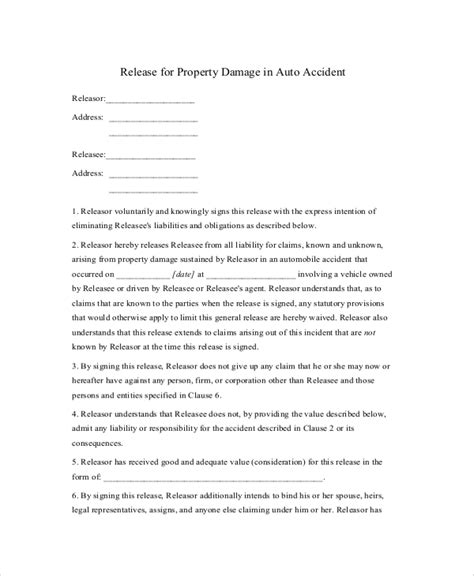 auto accident release of liability form pdf 9 sle release of liability forms sle templates