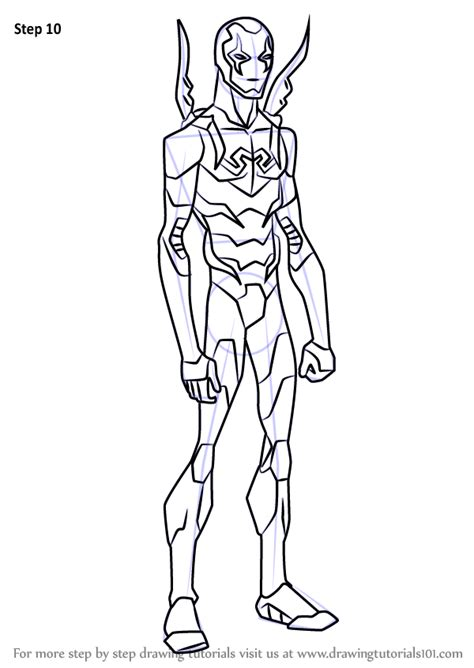 learn   draw blue beetle  young justice young